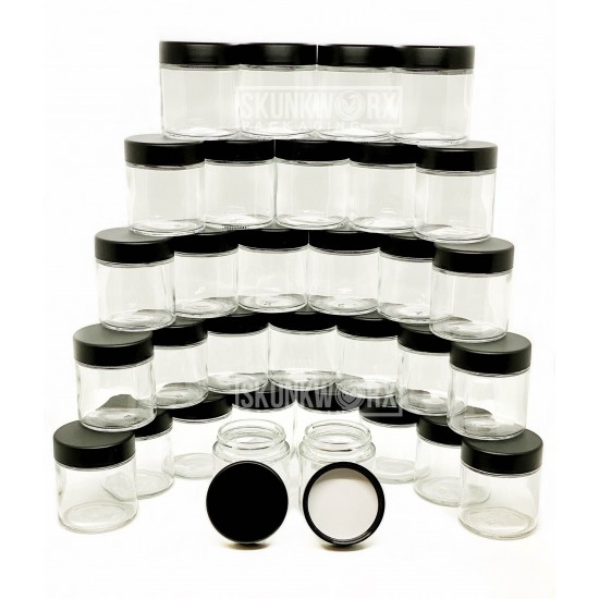 39¢ 3oz CLEAR GLASS JARS with Child Resistant Caps - only $0.39/jar!