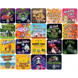 9cc Square Concentrate Jar Custom Labels - 100 labels ($0.35/label, discounts for higher order quantities)